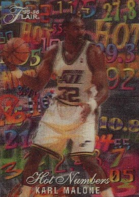 1995 Flair Hot Numbers Karl Malone #7 Basketball Card