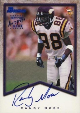 1998 Bowman Rookie Autographs Randy Moss A7 Football Vcp