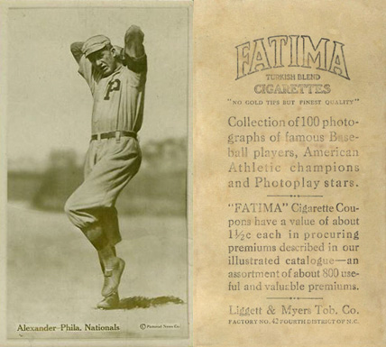 1914 Fatima Player Cards Grover Alexander #1 Baseball Card