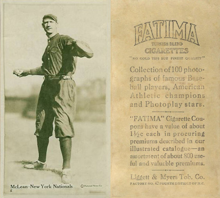 1914 Fatima Player Cards Larry McLean #33 Baseball Card