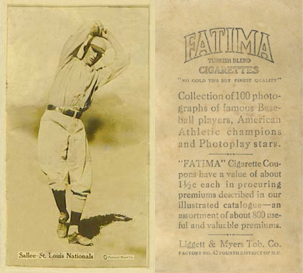 1914 Fatima Player Cards Slim Sallee #43 Baseball Card