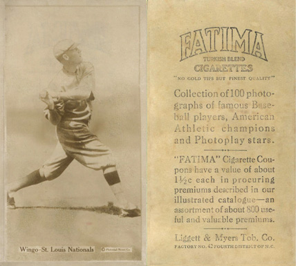 1914 Fatima Player Cards Ivy Wingo #51 Baseball Card