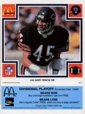 1985 McDonald's Bears Gary Fencik #45 Football Card