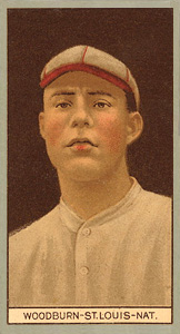 1912 Brown Backgrounds (Red Cycle) Eugene Woodburn #203 Baseball Card