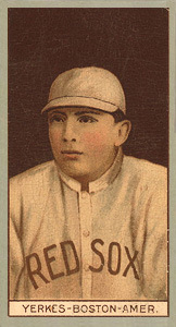 1912 Brown Backgrounds (Red Cross) Stanley Yerkes #205 Baseball Card