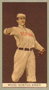 1912 Brown Backgrounds (Red Cross) Joe Wood #202 Baseball Card