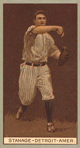 1912 Brown Backgrounds Red Cross Oscar Stanage #173 Baseball Card