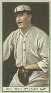 1912 Brown Backgrounds Common back Edward Konetchy #93 Baseball Card