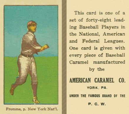 1915 American Caramel Fromme, p. New York Nat'l #21 Baseball Card
