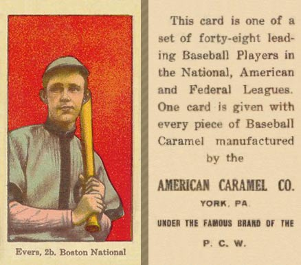 1915 American Caramel Johnny Evers #20 Baseball Card