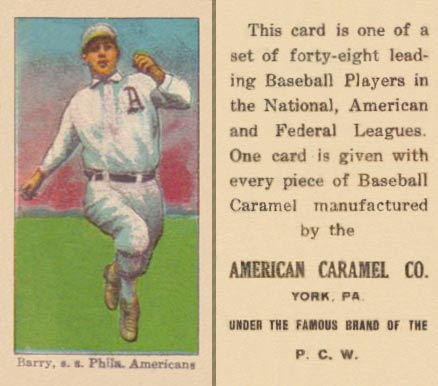 1915 American Caramel Jack Barry #1 Baseball Card