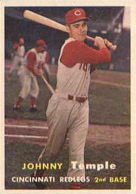1957 Topps Johnny Temple #9 Baseball Card