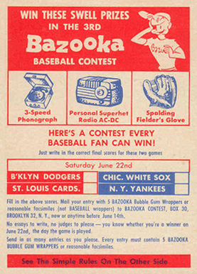 1957 Topps  Contest #Contest June 22 Baseball Card