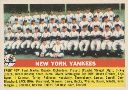 1956 Topps New York Yankees Team #251 Baseball Card