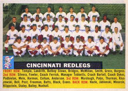 1956 Topps Cincinnati Redlegs Team #90-center Baseball Card
