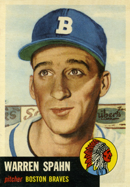 1953 Topps Warren Spahn #147 Baseball Card