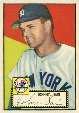 1952 Topps Johnny Sain #49bw Baseball Card