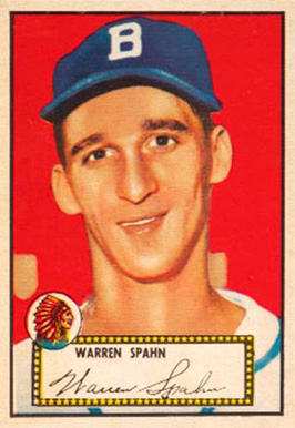 1952 Topps Warren Spahn #33b Baseball Card