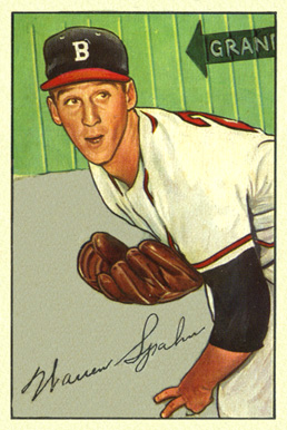 1952 Bowman Warren Spahn #156 Baseball Card