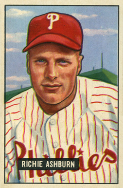 1951 Bowman Richie Ashburn #186 Baseball Card