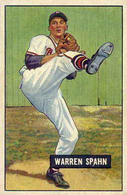 1951 Bowman Warren Spahn #134 Baseball Card