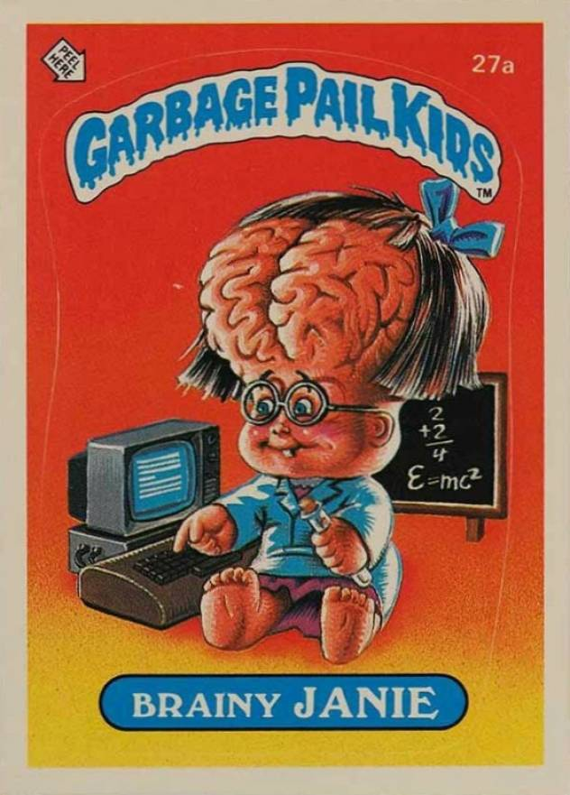 1985 Garbage Pail Kids Stickers Brainy Janie #27a Non-Sports Card