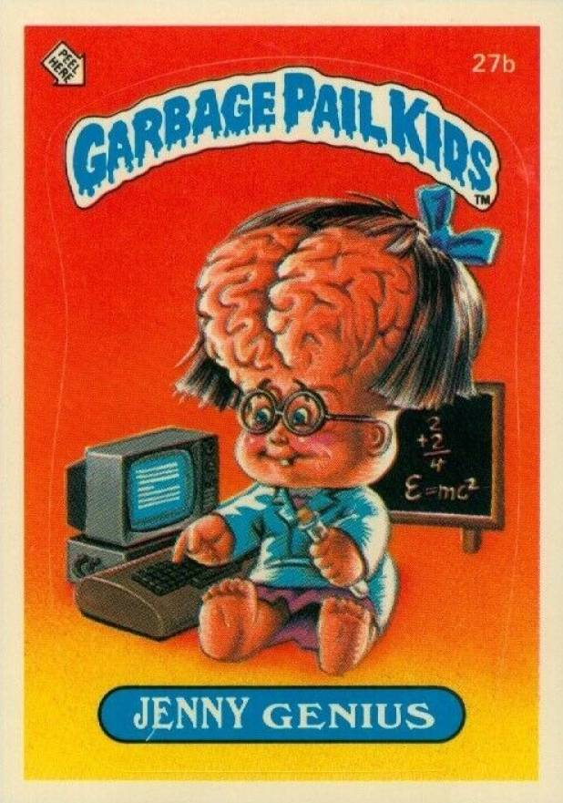 1985 Garbage Pail Kids Stickers Jenny Genius #27b Non-Sports Card