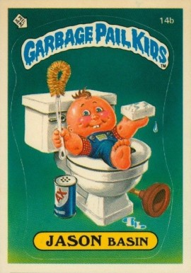 1985 Garbage Pail Kids Stickers Jason Basin #14b Non-Sports Card