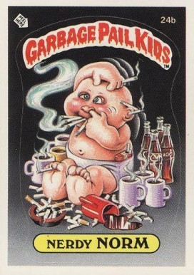 1985 Garbage Pail Kids Stickers Nerdy Norm #24b Non-Sports Card