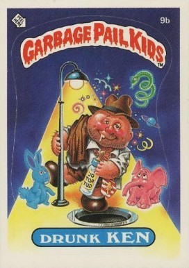 1985 Garbage Pail Kids Stickers Drunk Ken #9b Non-Sports Card