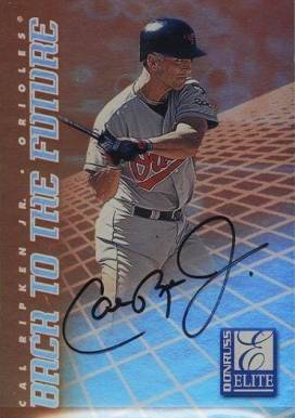 1998 Donruss Elite Back To The Future Autograph Cal Ripken Jr. #1B Baseball Card