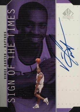 1998 SP Authentic Sign of the Times Silver Vince Carter #VC Basketball Card