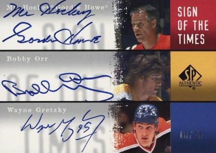 2000 SP Authentic Sign of the Times Triple Gretzky/Howe/Orr #HOG Hockey Card